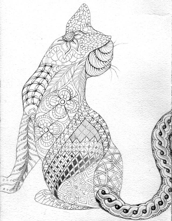 free coloring page coloring adult difficult cat from back