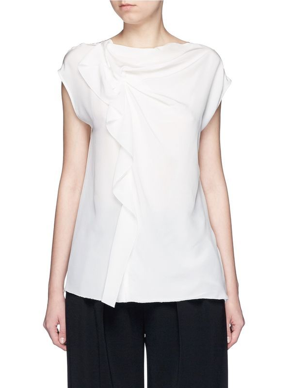 VogaIn Luxury New Fashion 100% Silk Soft White Boat Neck TOP Shirt Front Gathered with Frills Elegant Tee Shirts For Woman