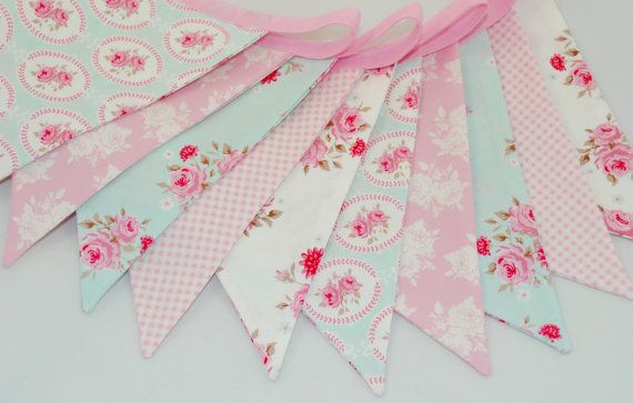 Shabby Chic Party Bunting  TILDA in PINK & by BeautifulThinkingUK on Etsy.