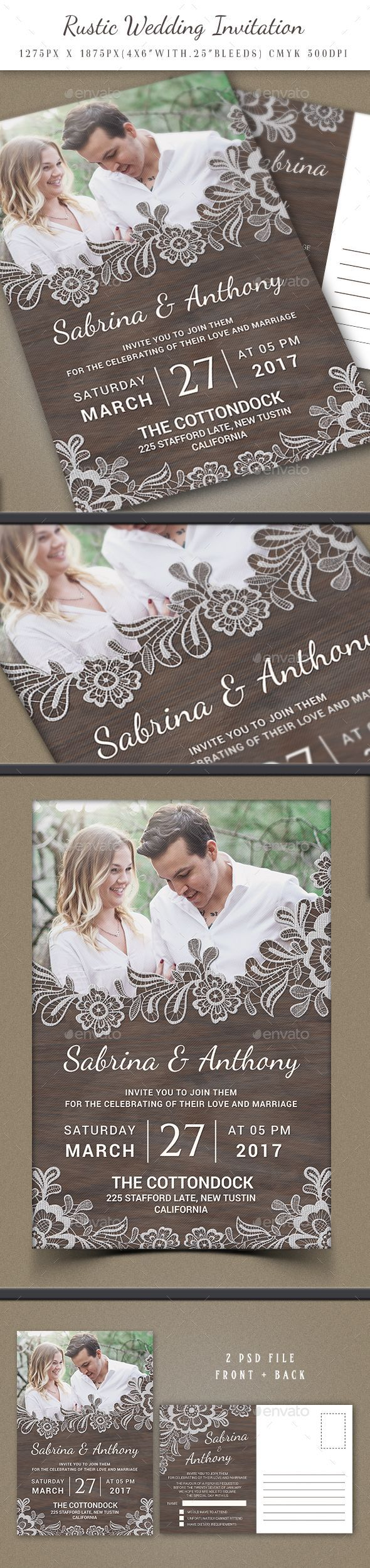 free wedding invitation psd%0A Rustic Wedding Invitation by Goodgraph Rustic Wedding InvitationThe PSD  file is setup at     px x     px
