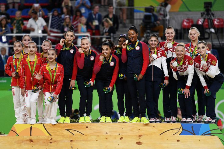 American gymnasts win the women's team gold!#gymnasts #gymnastics #olympics #usa #gold