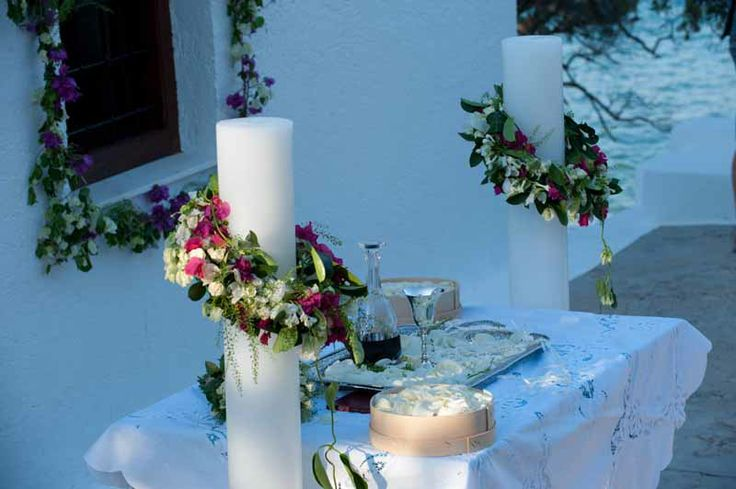 Beach wedding | Spetses  Keyhole View: Details of fresh-cut bougainvillea