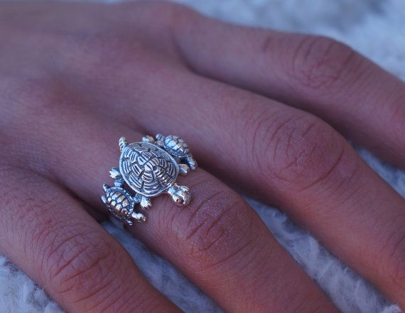 Sterling Silver Turtle Ring - Mother & Kids Cute Turtle Ring - Hypoallergenic Ring on Etsy, $22.00
