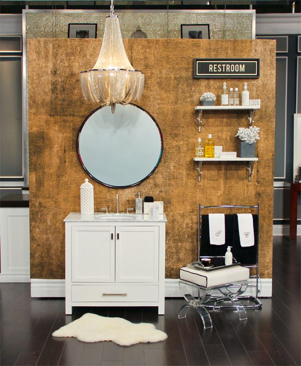 Rollout Wallpaper; stool, round mirror, electric towel warmer, all accessories, towels, sign, Gingers; silver soap pump and box, shelves with brackets, West Elm; pendant light chandelier, Living Lighting on King.
