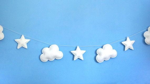 Nube e stelle Garland bianco feltro ghirlanda sentivo di LilyRazz
