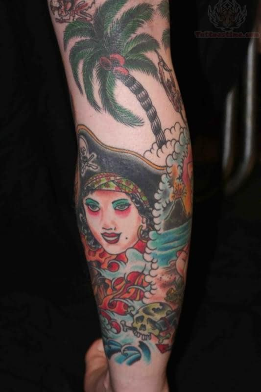 Tree And Pirate Girl Tattoo On Back Leg