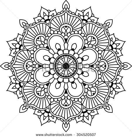Simple floral mandala for design or mehendi