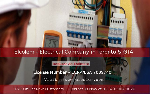 Elcolem, leading electrical company in Toronto & GTA. Offer electrical service repairing, lighting installation, electrical wiring, electric panel installation etc. We are licensed electrical contractor offer 24 hour emergency service at affordable costs. Contact us to know or more detail.