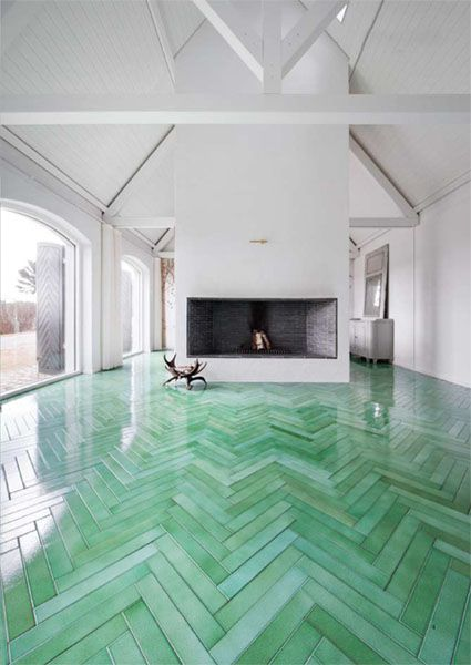 green herringbone floors