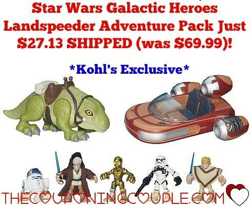 Star Wars Galactic Heroes Landspeeder Adventure Pack for just $27.13 SHIPPED (was $69.99)!  Your little Jedi is going to LOVE this!  Click the link below to get all of the details ► http://www.thecouponingcouple.com/star-wars-galactic-heroes-landspeeder-adventure-pack-by-hasbro/ #Coupons #Couponing #CouponCommunity  Visit us at http://www.thecouponingcouple.com for more great posts!