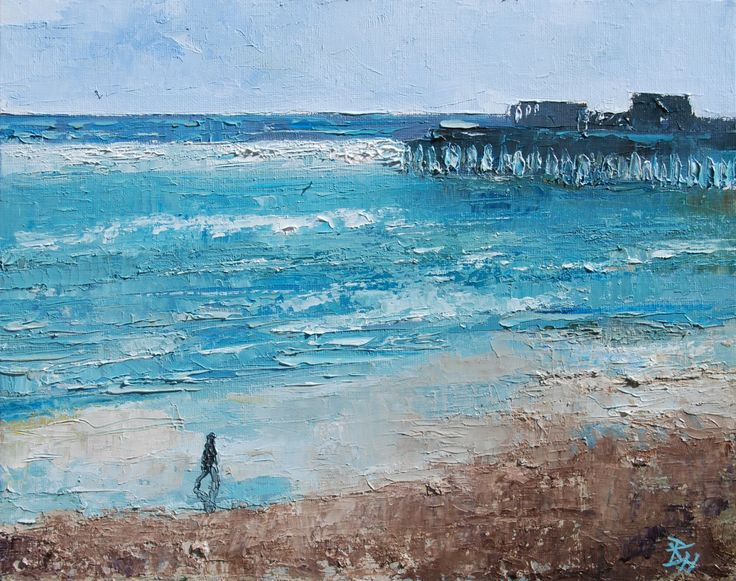 Hastings Beach, Sunshine, Oil painting by Brian Hanson | Artfinder