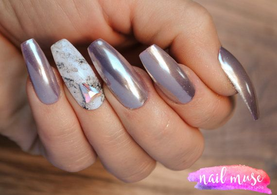 Press on Nails Rose Gold Chrome with Marble by NailMuse on Etsy
