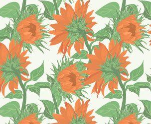 Sunflower Ochre flower pattern,handmade work,Wallpaper walls