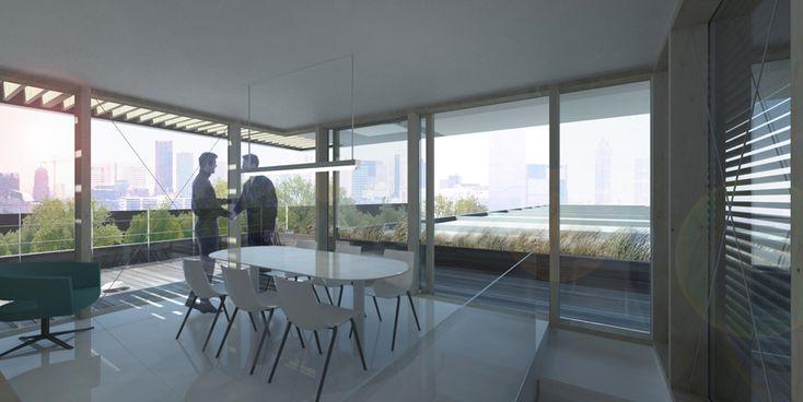 Interior view in the rooftop extension Rotterdam. Stunning views on the skyline of Rotterdam. http://bloota.nl/work/dakopbouw-rotterdam/