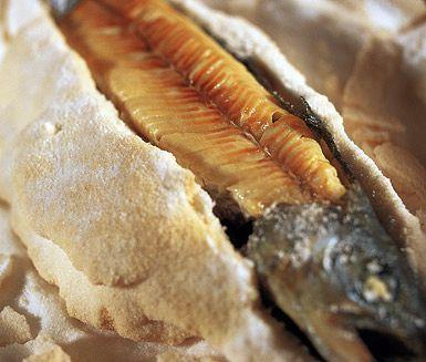 Saltinbakad ädelfisk är ett gott fiskrecept med perfekt sälta och smak. Detta recept med fet fisk som lax, röding eller öring tillagas i ugnen och innehåller rikligt med salt samt lite vetemjöl.