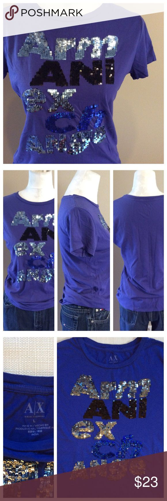 "PURPLE Armani Exchange Tee NOTE: this gorgeous tee is purple (difficult to photograph). Front sequin logo, crew neck and short sleeves. Super sparkly and super fabulous. Size L, 17"" chest and 25"" length. A/X Armani Exchange Tops Tees - Short Sleeve"