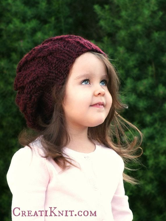 Cable Hat Knitting Pattern - Slouch Hat Pattern Slouch Beanie - Knit Cable Pattern - The Claret Cable Slouchy 6-12/12-24/24-48mos & 5-10yrs
