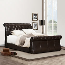 @Overstock - Looking to inovate you bedroom decor. Featuring a tufted headboard and Asian wood construction this Queen sleigh dark brown faux leather bed will give a perfect touch of style to your home decor. http://www.overstock.com/Home-Garden/Castela-Dark-Brown-Faux-Leather-Queen-size-Sleigh-Bed/6200745/product.html?CID=214117 $699.99
