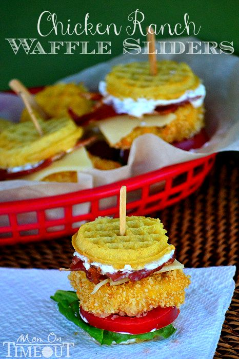 Chicken Ranch Waffle Sliders   Mom On Timeout