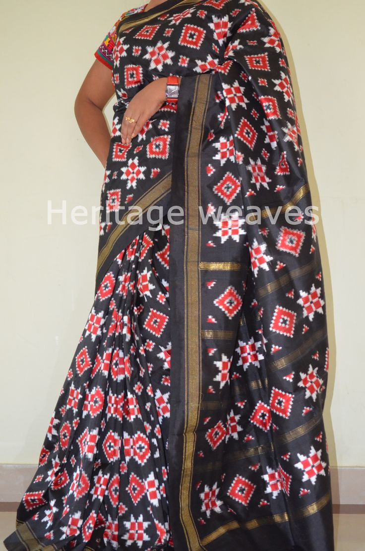 TELIA RUMAL TWO MOTIF BLACK SILK SAREE
