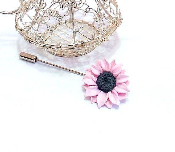 Pink Sunflower Boutonniere Rustic Groom by NikushJewelryArt