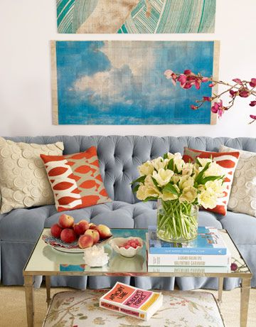 Pile On the Pillows.                         One pair of pillows always looks skimpy. Use two pairs, in contrasting patterns, colors, and textures.Colors Combos, Coffee Tables, Decor Tips, Living Rooms, Couch, Blue, Livingroom, Interiors Design, Colors Schemes