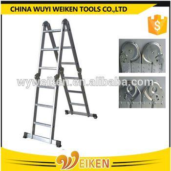 wuyi big hinge 4x3 step aluminum folding ladder