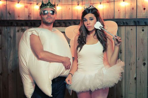 """diy tooth fairy couple costume - note that the """"tooth"""" has a crown!"""