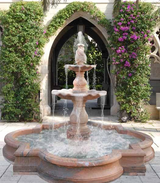 classic garden fountain and backyard landscaping ideas