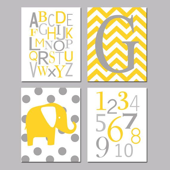 Yellow and Gray Nursery Art Quad  Set of Four 8x10 by Tessyla, $65.00