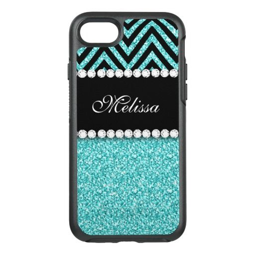 Aqua Glitter Black Chevron Monogram Name OtterBox Symmetry iPhone 7 Case