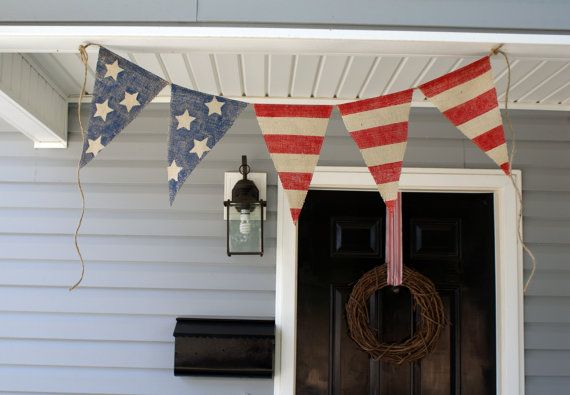 AMERICAN FLAG Burlap bunting banner in Red White Blue... by HerBeautifulLife