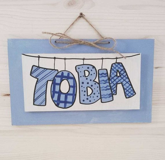 TOBIA wall name baby blue Children's Wall Names by bluepeppertime