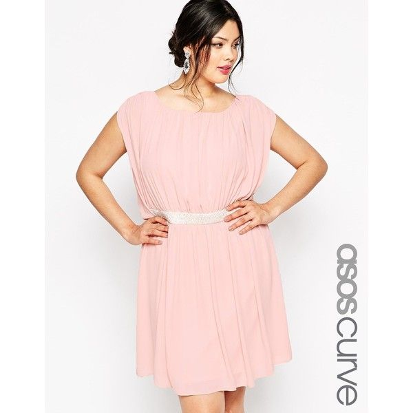 ASOS CURVE Mini Dress with Embellished Waist ($62) ❤ liked on Polyvore featuring dresses, navy, plus size, short pink dress, short navy dress, navy blue short dress, plus size mini dresses and pink dress