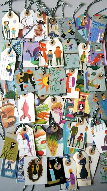DIY paper labels by Ingthings. Cute way to make use of damaged vintage kid's books