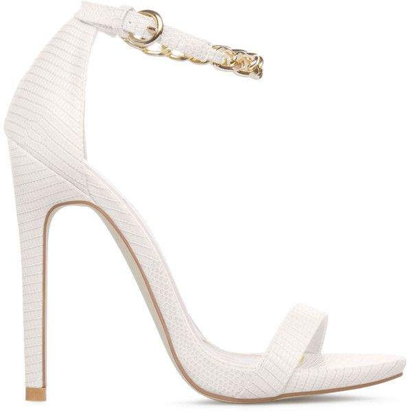ShoeDazzle Sandals-Dressy - Single Sole Vanette Womens White ❤ liked on Polyvore featuring shoes, sandals, heels, white, sandals-dressy - single sole, ankle wrap sandals, faux leather sandals, white shoes, ankle strap sandals and vegan shoes