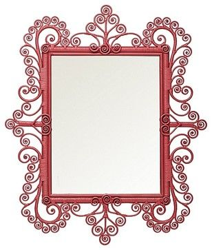 Peacock Scroll Mirror, Tropical Pink