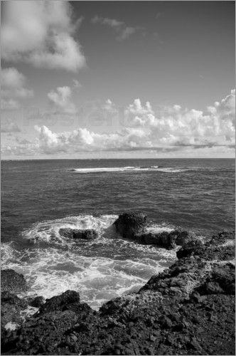 Ocean, Atlantic Ocean Coast Black and White Interior Photo Print.