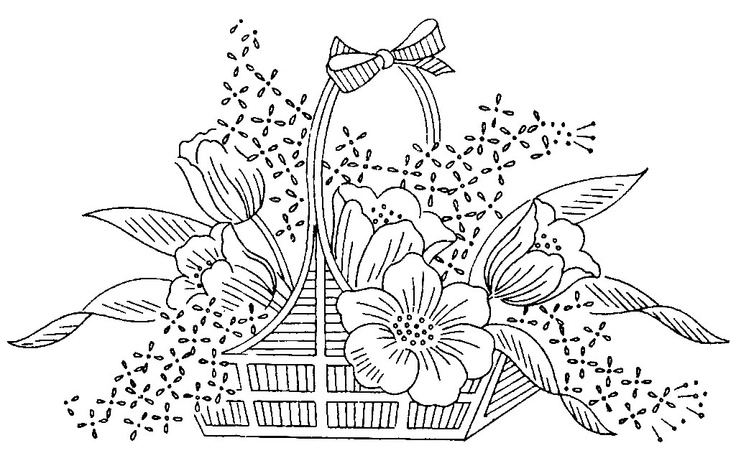 How To Draw A Beautiful Flower Basket : Images about embroidery designs on january