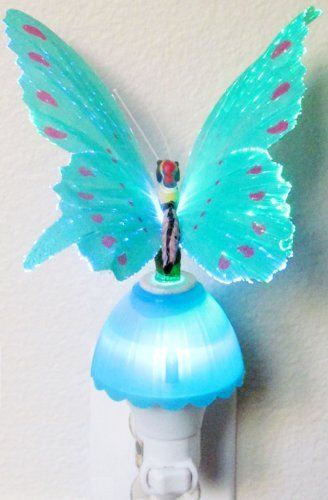 Butterfly Optic Fiber Color Changing Night Light Show - Blue by Nightlights. $11.33. Fiber Optic Night Light The Color Changing Fiber Butterfly comes with LED lighting and slow color changing motion which makes it as if the butterfly is slowly flapping its wings in motion. The fiber butterfly will light up the night as soon as it is plugged in.