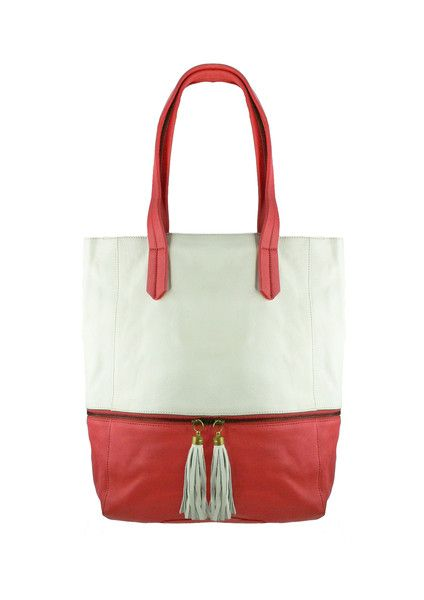 Tassel Leather Tote - Coral / Ivory $279.95 #leethal #accessories #fashion
