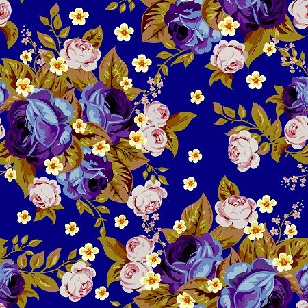 Blue cabbage roses and small white flowers ,seamless pattern  by Maria Rytova #vintage #rose #seamless #pattern #cabbagerose #fabric #textile #design