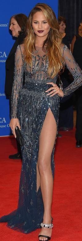Who made Chrissy Teigen's blue beaded gown, crystal sandals, and jewelry?