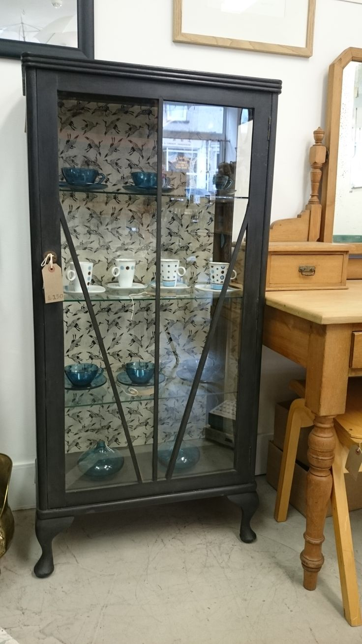 Upcycled vintage display cabinet. Some of the glass had ...
