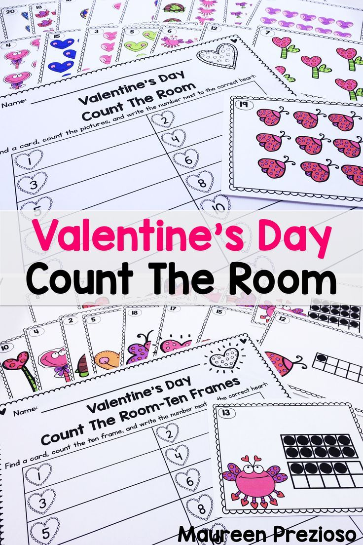 These Valentine's Day Count the Room activities are a fun and engaging way to practice counting to 20, subitizing, and ten frames.  There are 2 sets included:  1 with pictures to count, and 1 with ten frames.  Students roam the room, find a card and record the number on a recording sheet.  Great for small group activities, and guided math groups.