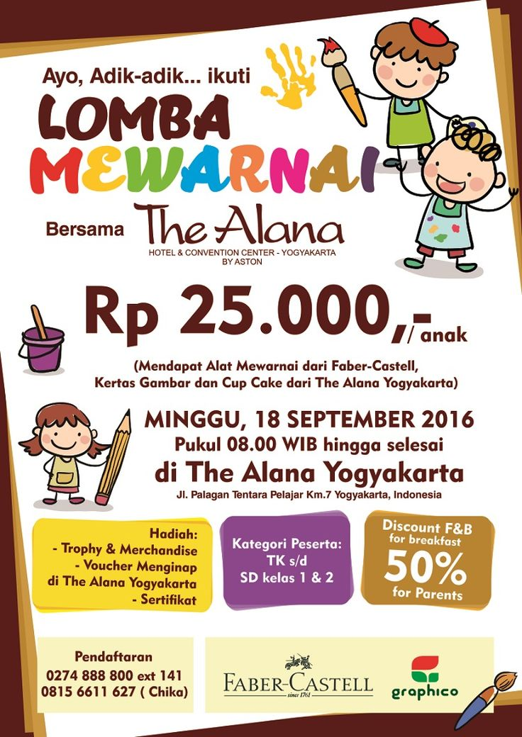 Coloring Competition on 18 Sept 2016 at 08.00WIB. Register now : 0274 888 800