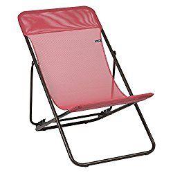 Lafuma Maxi Transat Folding Sling Chair – Brown Steel Frame with Iso Batyline Fabric – Rhodo