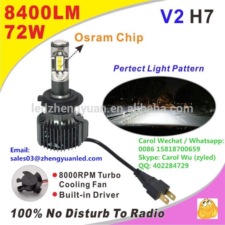 Pursuit Superior Bright 8400lm 72W ZY V2 h1 h3 led h7 6000k headlight car accessories automotive led lights pk 5s g6 g7 g8 m5 8g