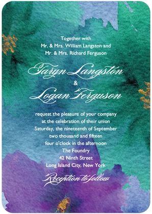 Watercolor blooms wedding invitation