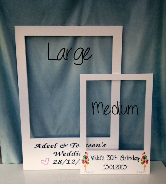 large medium personalised photo booth prop frames perfect for weddings birthdays. Black Bedroom Furniture Sets. Home Design Ideas